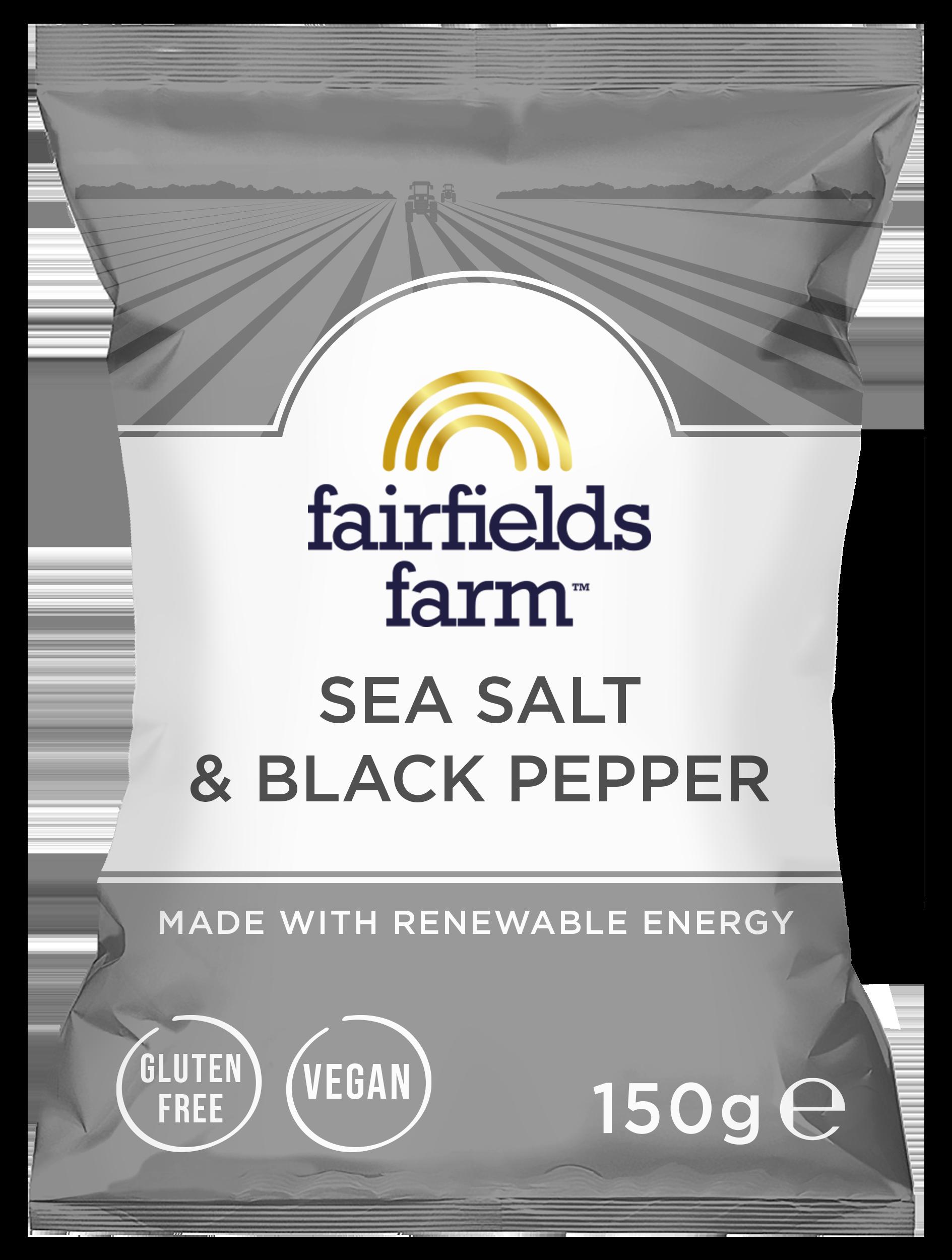 Fairfields 12 x 150g Bags – Sea Salt & Black Pepper